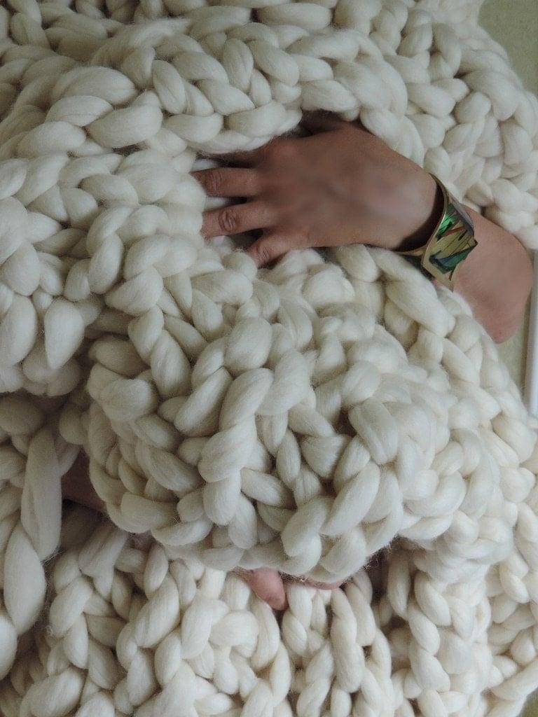 Knitting Patterns For Chunky Wool Blankets : SALE Chunky knit blanket Australian merino wool by JennysKnitCo