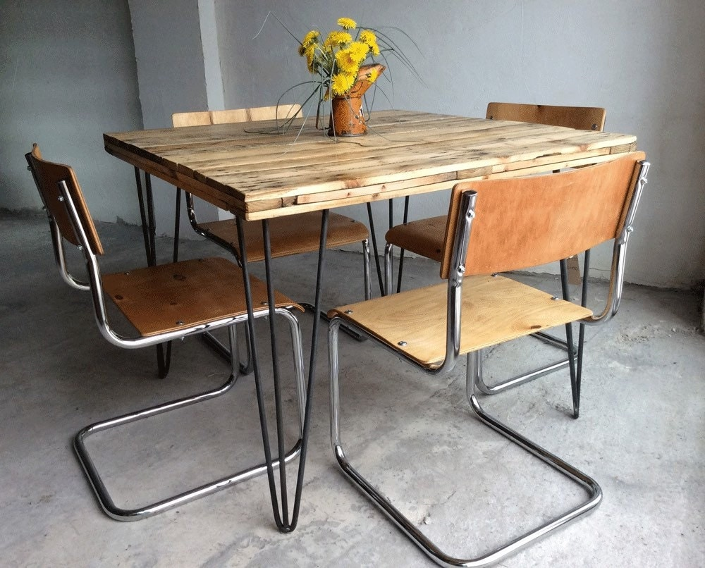 Set Of 4 Restored Vintage Industrial School Style Dining