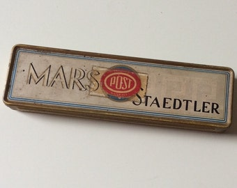 Mars Staedtler Tin/Vintage Mars Staedtler Pencil Tin/German Pencil Tin/Vintage Pencil Tin/Collectible Pencil Tin/Mars Staedtler Pencil Tin