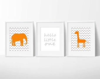Orange/Grey Printable Elephant Giraffe Chevron Wall Art