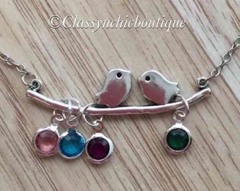 Love Bird Necklace With Birthstones