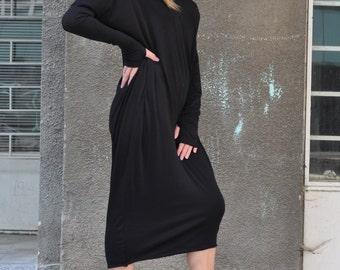 Womens Dress Bare Back / Extra Long Sleeve Dress / Cotton Dress with tumbholes  by EUGfasion