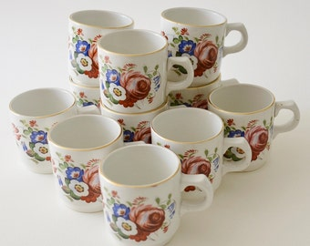 10 Vintage French Coffee Cups