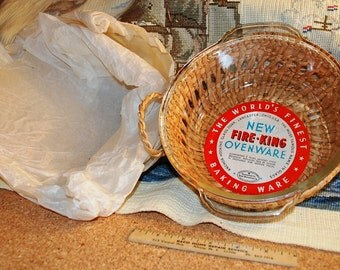 New 1950's Fire-King 1 1/2 Quart Ovenware with Real Wicker Basket!!