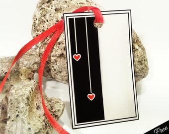 INSTANT Digital Download Printable Valentine, Heart Tags, Valentines Day Printable Gift Tags, Black Red White Tags, Valentines Day Gift Tags