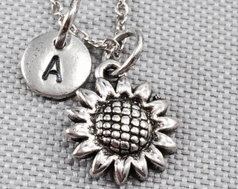 Sunflower charm necklace, flower necklace, sunflower jewelry, initial charm, personalized necklace, flower jewelry
