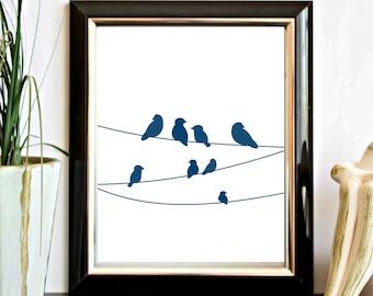 Birds On A Wire Printable Wall Art - Teal Wall Decor - Bird Silhouette - Office Wall Decor Poster- Bird Nursery Art - Digital Artwork