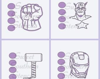 PYO: Superheroes Cookie Stencils  (4 separate stencils)