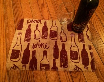 Burlap Placemats: Wine placemats. (Set of 4)