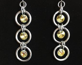 Chainmail Dangle Earrings w/ Swarovski Crystal Elements