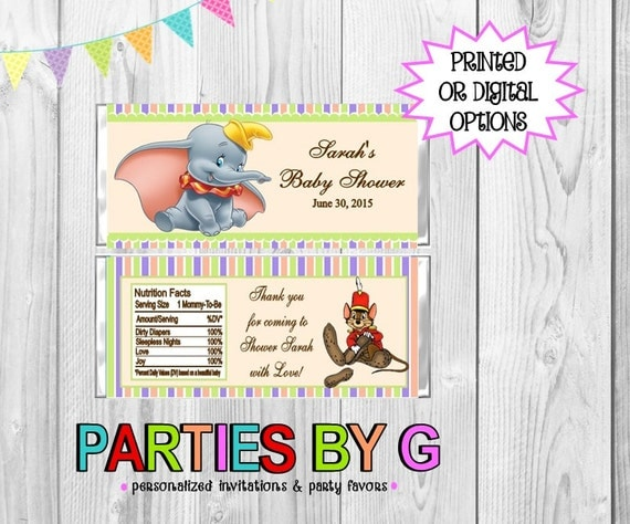 dumbo baby shower or birthday party candy wrappers party favors custom