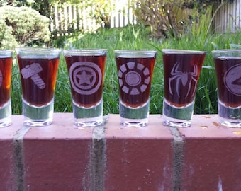 6 Hand etched shot glasses inspired by Marvel Superheroes