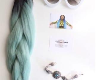 Catface Hair Black Mint Green Ombre Jumbo Braiding Hair