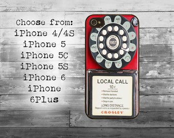 Vintage pay phone phone cover - iPhone 4/4S, iPhone 5/5S/5C, iPhone 6/6+, iPhone 6s/6s Plus case - retro pay phone iPhone case