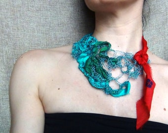 Wire necklace, wire crochet, blue wire, sari silk jewelry, free form crochet, statement necklace