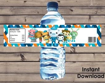 Octonauts Party Water Bottle Label Instant Download