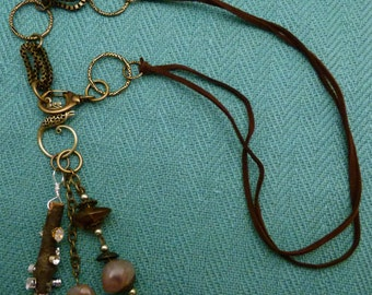 Jeweled Twig and Brass Necklace  N0067