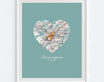 Birmingham Alabama Home Map print Heart Vintage Map ART PRINT City map, crimson tide, state map gift, wedding gift, Christmas gift for her