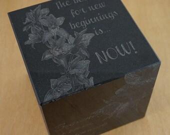 Inspirational Black Granite Cube ~ Granite Cube ~ Custom Cube ~ Custom Block
