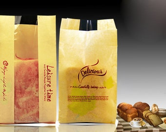 High Quality kraft paper bag wholesale 100pcs/lot 12+5*23.5cm kraft paper toast bread packging bag,baking food packaging bag