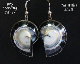 Silver Earrings 025: Sterling Silver Earrings in Nautilus Shell Design, Black & Silver Tones, Dangle Earrings | Silver Drop Earrings