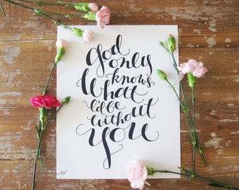 God Only Knows (Beach Boys) - 8x10 Handmade / Hand-Lettered Print / Wall Art