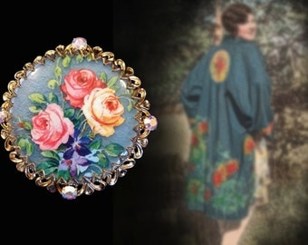 Fabulous Vintage Blue Floral Brooch with Rhinestone Accents