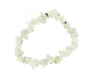 Wire chips beads natural Moon stone - bracelet 18cm