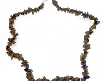 Wire chips beads Brown Tiger eye - 42cm necklace