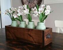 Farmhouse Wood Centerpiece Box and Painted Mason Jar Set