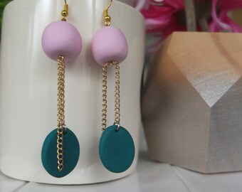 Pink and Emerald Green Drop Earrings