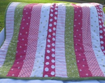 Pink and Green strip quilt