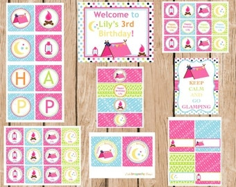 Glamping, Girl Camping Birthday Party Package, DIY, Printable