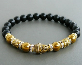 Gold Buddha bracelet, Black onyx bracelet, Matte Black Onyx, Yoga bracelet, tibetan mala, Black and Gold Stretch Bracelet, Gift for girl
