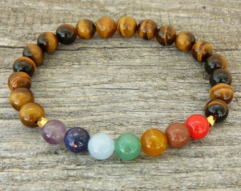Mala bracelet, Chakra bracelet, 7 chakra Bracelet, Tiger Eye bracelet,  Yoga bracelet, tibetan mala, Meditation Bracelet, Gemstone bracelet