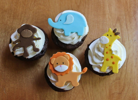Edible Cake Images Elephant : Items similar to Jungle Animal Edible Cake Toppers ...