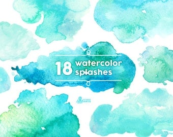 Watercolor Splashes Clipart: 18 Digital files. Hand painted, brush strokes, splodge, pools, splotch, abstract watercolour, background mint