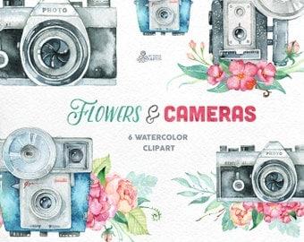 Flowers & Cameras. 6 Handpainted clipart, invitation, photocamera, quote, wedding, boho, retro, floral bouquets, diy