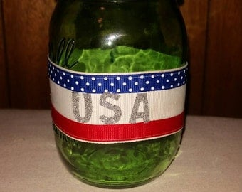 Fourth Of July Mason Jar cover, with sparkling USA