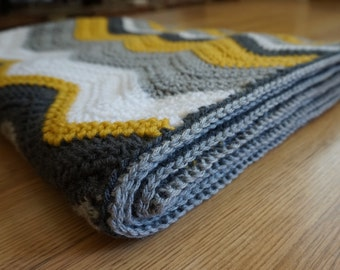 The Bumblebee ~ Adult Size Ripple Chevron Crochet Throw Blanket Afghan ~ Yellow Gray White Silver Charcoal