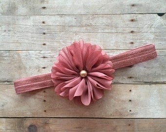 Baby Girl Headband, Shabby Chic Baby Headband, Mauve Headband, Newborn Headband, Baby Photo prop, Toddler Headband