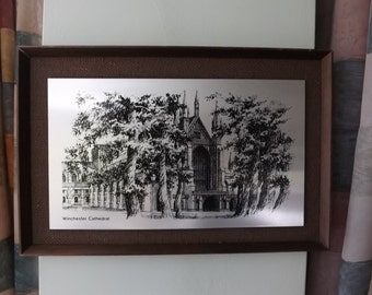 WINCHESTER CATHEDRAL Etching on Stainless Steel Plaque Mounted on Hessian and Framed. Made in Cornwall, England
