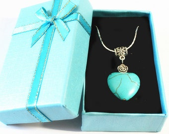 Tibetan Turquoise Pendant Turquoise Silver Necklace with Gift Box--U.S. Free Shipping
