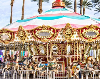 Carousel Photo, Merry Go Round Print, Carousel Horses, Carnival Photography, Kids Room, Nursery Decor, Family Room Decor,Blue,Yellow, Red