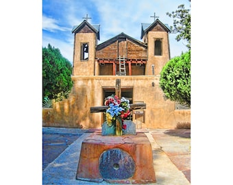 Southwest Photo Art, Chimayo Adobe Church, Santa Fe Art Print, Rustic Decor,Santuario de Chimayo, Old Church Photo, Southwest Decor,Wall Art