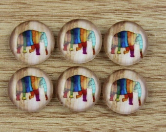 10 pcs 12mm Handmade photo glass cabochon cabs Elephant --491-1