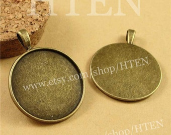 Cabochon Base Setting -5pcs 20mm Antique Bronze High Quality Cameo Setting Charm Pendants  (DT-A3539)