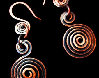 Inspirals Handcrafted Antiqued Copper Earrings
