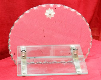 Unique Art Deco Style Scalloped Mirror with Glass Shelf from Pittsburgh Glass 1953                 00301
