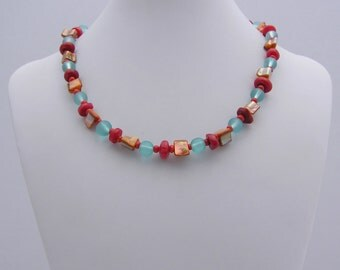 Coral, Shell and Blue Glass Beaded Necklace